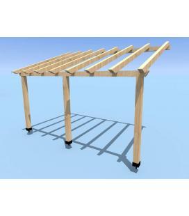 Porche de madera un agua abeto (prefabricado)