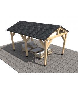 Porche de madera de dos aguas abeto (prefabricado)