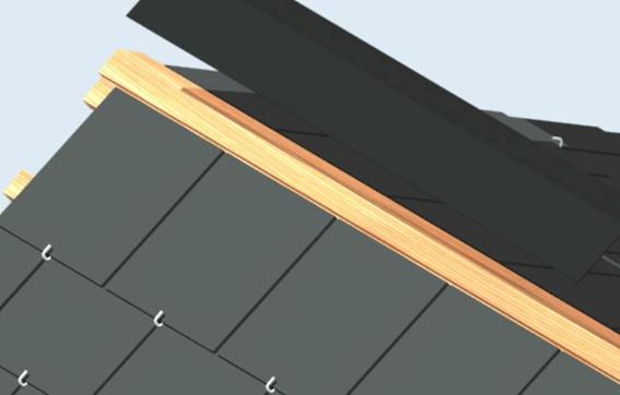 Colocamos la chapa metálica clavada para asegurarnos la fijación final del tejado