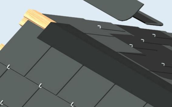 Podemos realizar un acabado más armónico con el tejado tapándolo con medias láminas de pizarra repartidas en ambos faldones
